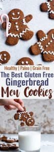 Gluten Free Paleo Healthy Gingerbread Cookies - These gingerbread cookies areperfectly spicy, sweet and crispy! An easy, delicious holiday cookie that no one will know are healthy and gluten/grain/dairy/refined sugar free! | #Foodfaithfitness | #Glutenfree #paleo #Gingerbread #healthy #dairyfree