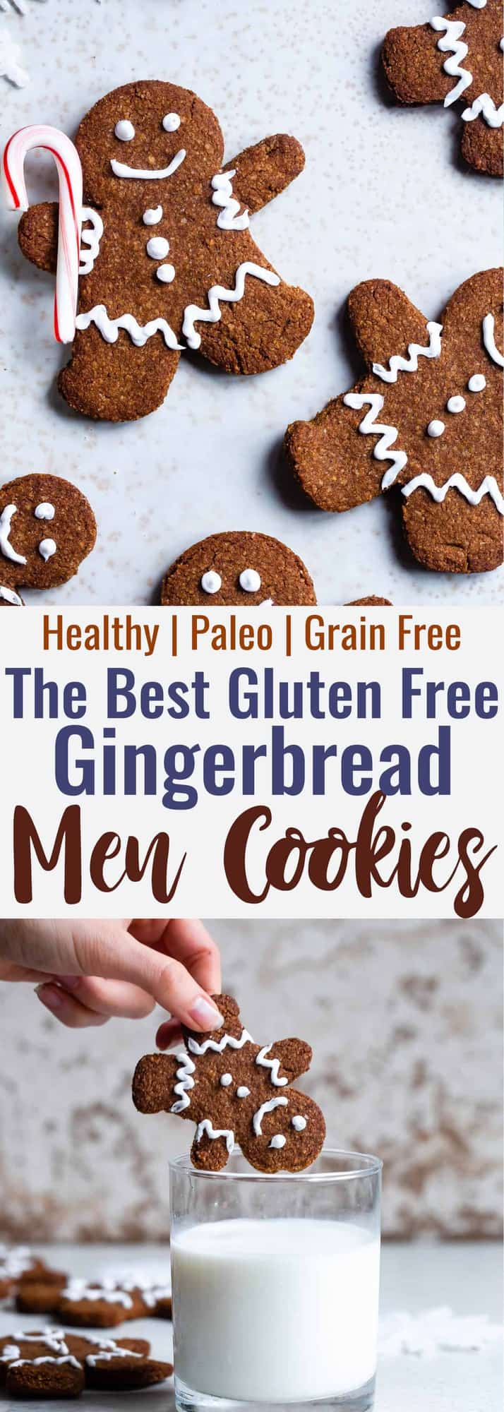 Gluten Free Paleo Healthy Gingerbread Cookies - These gingerbread cookies are perfectly spicy, sweet and crispy! An easy, delicious holiday cookie that no one will know are healthy and gluten/grain/dairy/refined sugar free! | #Foodfaithfitness | #Glutenfree #paleo #Gingerbread #healthy #dairyfree