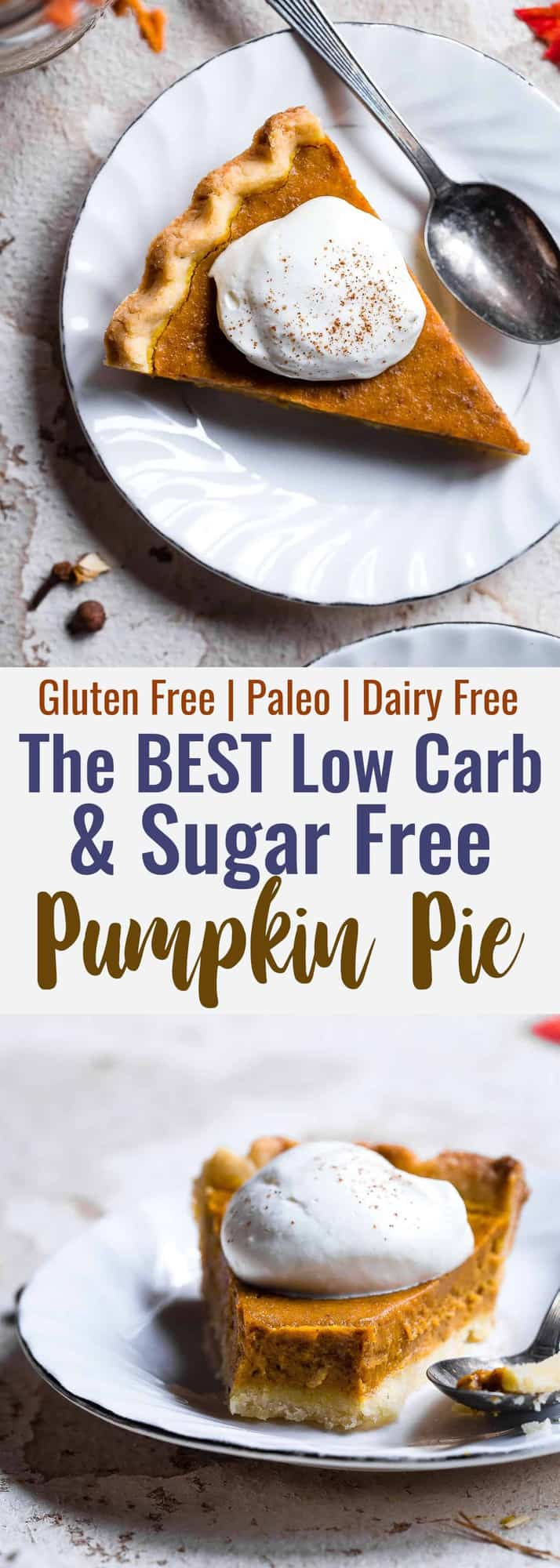 The BEST Low Carb Sugar Free Pumpkin Pie - This paleo friendly, sugar free pumpkin pie is SO delicious, you will never know it's dairy and gluten free and only 200 calories a slice! Everyone will want this recipe! | #Foodfaithfitness | #Glutenfree #Sugarfree #Paleo #Lowcarb #Healthy