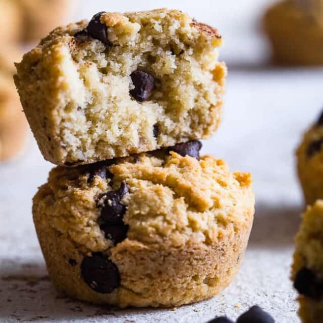 Walnut Chocolate Chip Keto Low Carb Muffins - These healthy, sugar free muffins are loaded with chocolate chips and black walnuts and are SO moist and fluffy you won't believe they're gluten free, keto AND paleo! | #Foodfaithfitness | #Keto #Lowcarb #Glutenfree #Paleo #Grainfree