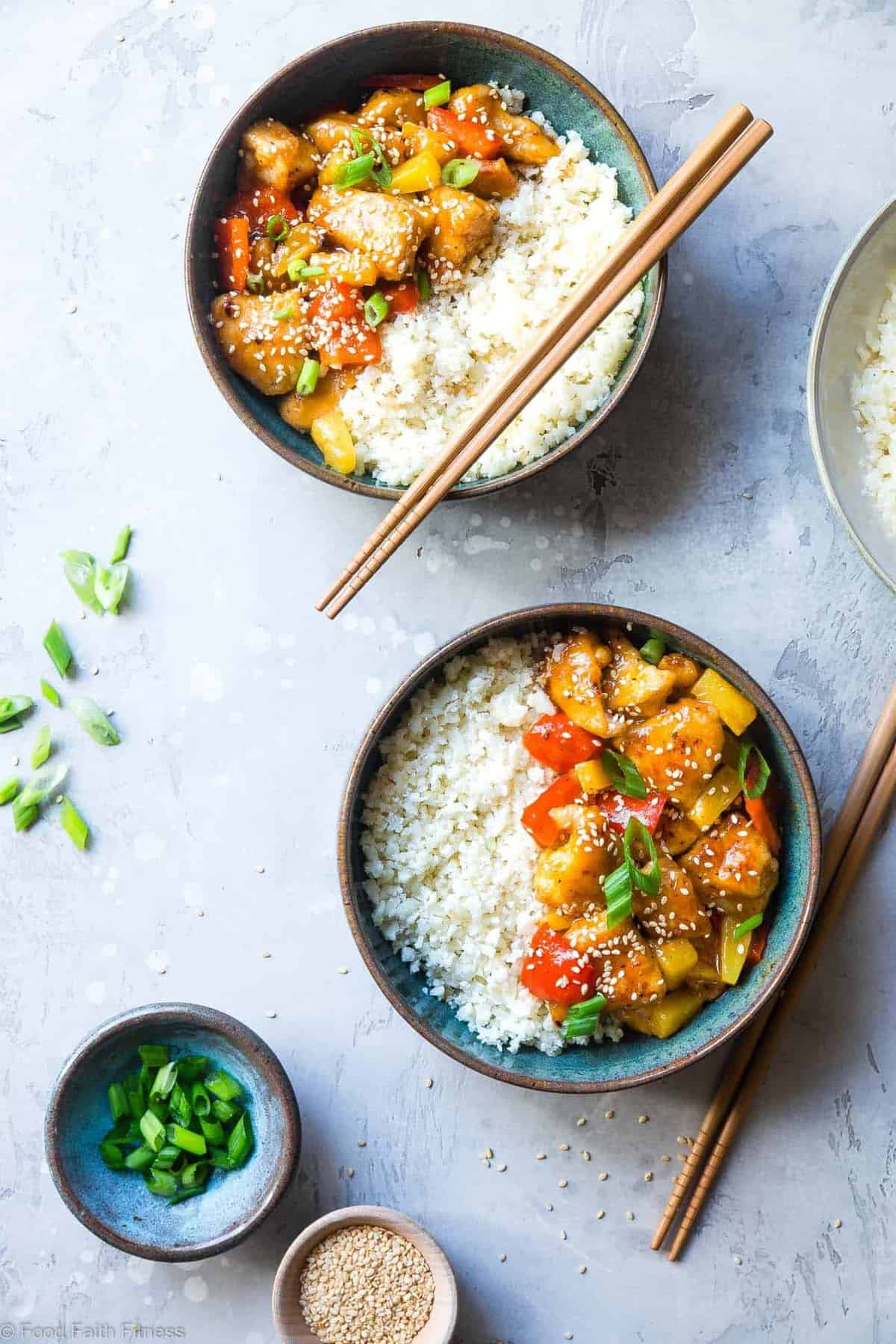 Gluten Free Whole30 Sweet and Sour Chicken - This paleo friendly, healthy sweet and sour chicken is so easy to make and tastes better than takeout and is WAY better for you! It's sugar/grain/gluten/dairy/egg free too! | #Foodfaithfitness |