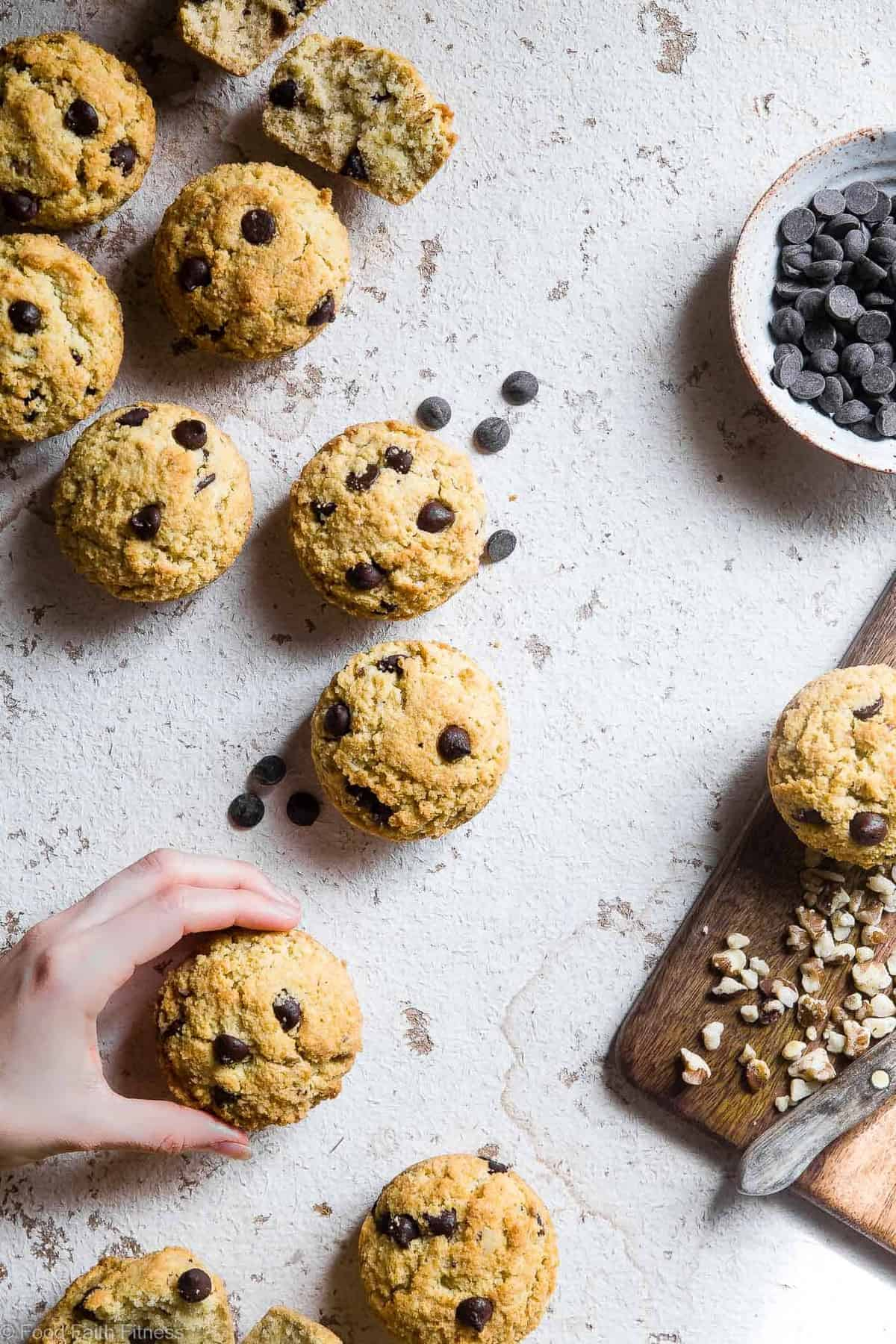 Walnut Chocolate Chip Keto Low Carb Muffins - These healthy, sugar free muffins are loaded with chocolate chips and black walnuts and are SO moist and fluffy you won't believe they're gluten free, keto AND paleo! | #Foodfaithfitness |