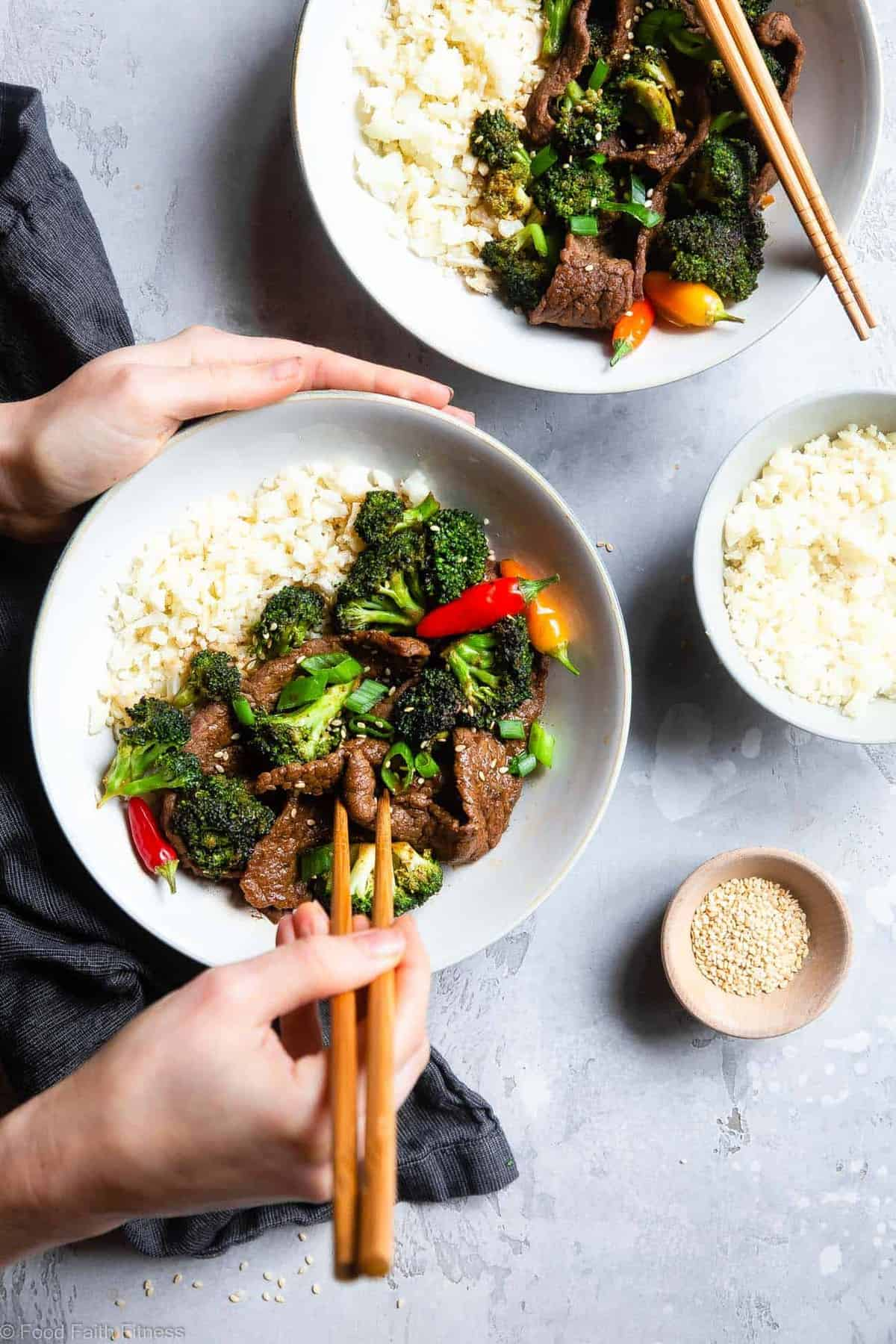Easy Whole30 Low Carb Beef and Broccoli - This keto stir fry is an EASY, one-pot weeknight meal that even picky eaters will love! So much yummier and healthier than takeout too! | #Foodfaithfitness |