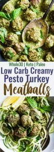 Low Carb Whole30 Turkey Meatballs with Pesto Cream Sauce -These healthy turkey meatballs are simmered in a coconut milk basil pesto cream sauce for an easy, weeknight meal that is keto and paleo friendly and so tasty! | #Foodfaithfitness |
