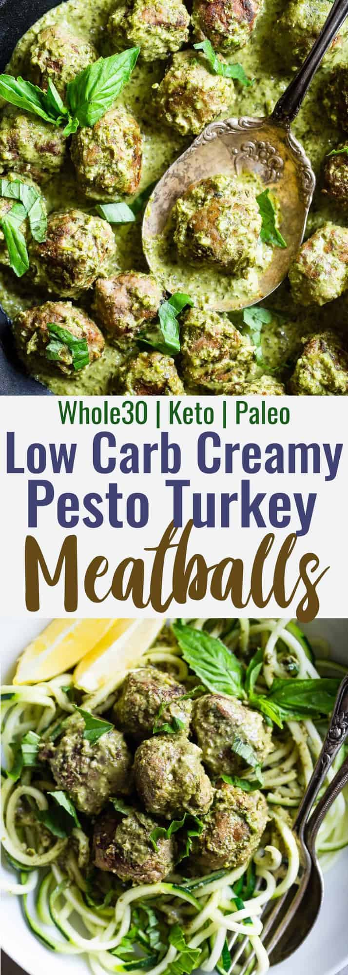 Low Carb Whole30 Turkey Meatballs with Pesto Cream Sauce - These healthy turkey meatballs are simmered in a coconut milk basil pesto cream sauce for an easy, weeknight meal that is keto and paleo friendly and so tasty! | #Foodfaithfitness | #Paleo #Whole30 #Lowcarb #Keto #Healthy