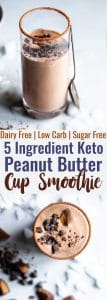 Peanut Butter Chocolate Keto Low Carb Smoothie - An EASY 5 ingredient breakfast that tastes like a peanut butter cup! It's Gluten/dairy/sugar free, paleo friendly, SO creamy and packed with plant based protein too! | #Foodfaithfitness | #Glutenfree #paleo #keto #lowcarb #sugarfree