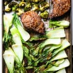 Asian Miso Steak Sheet Pan Dinner -This Sheet Pan Dinner is an EASY weeknight meal with bold, Asian flavor! This is a healthy, low carb and keto dinner that you will make over and over! Guaranteed to please a crowd! | #Foodfaithfitness | #Glutenfree #Keto #Lowcarb #Healthy #Asian