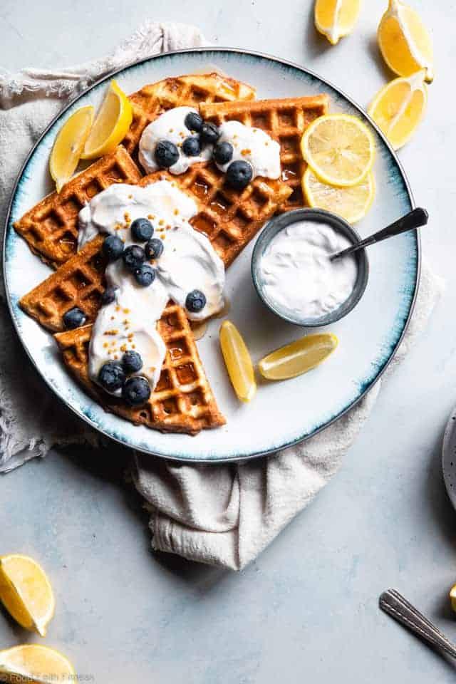 Blueberry Gluten Free Greek Yogurt Waffles