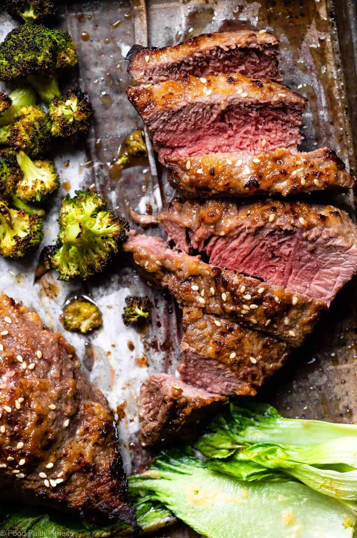 Asian Miso Steak Sheet Pan Dinner -This Sheet Pan Dinner is an EASY weeknight meal with bold, Asian flavor! This is a healthy, low carb and keto dinner that you will make over and over! Guaranteed to please a crowd! | #Foodfaithfitness |