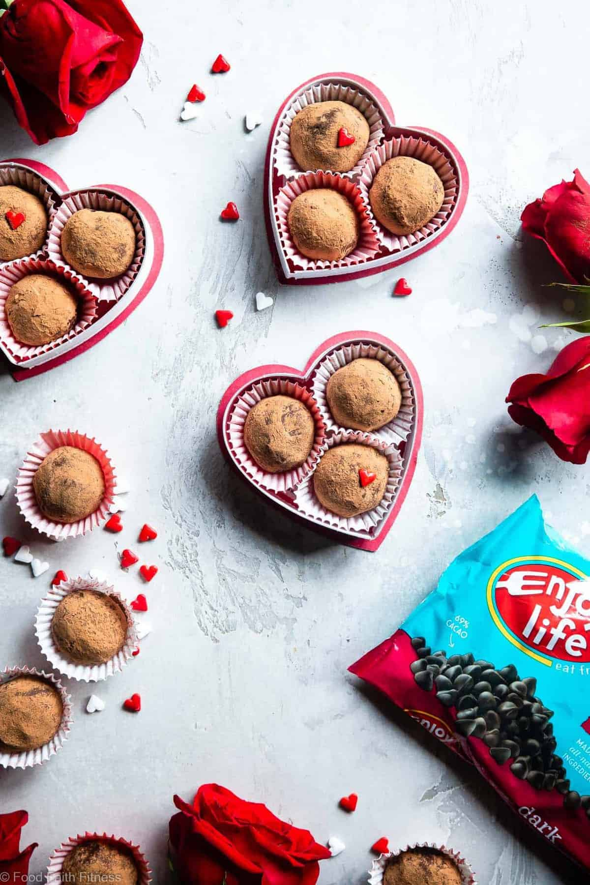 Dairy Free Vegan Chocolate Truffles -These Homemade ChocolateTruffles are only 3 ingredients and are SO easy to make! So creamy you won't know they're gluten, grain and dairy free, paleo friendly and healthier! | #Foodfaithfitness |