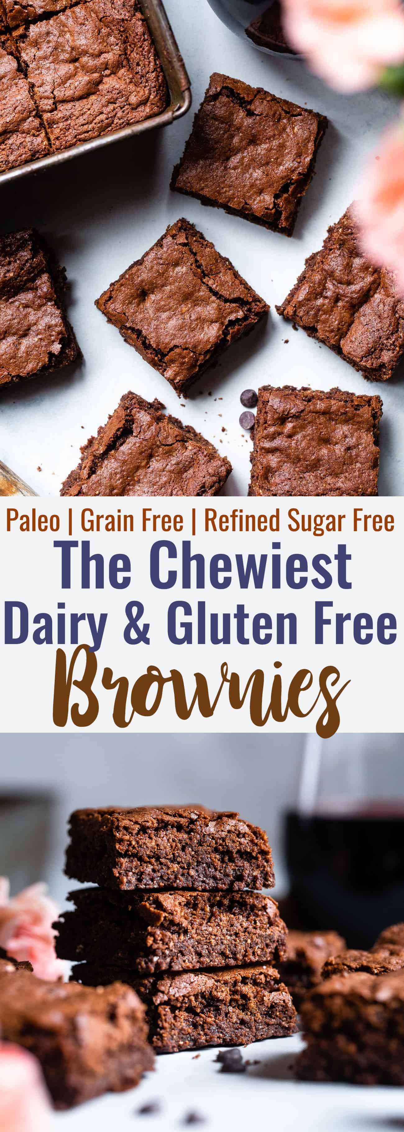 Easy Gluten Free Dairy Free Brownies - These grain free, healthy brownies come together in less than an hour and are SO dense, chewy and FUDGY! Paleo friendly, gluten and dairy free and SO delicious! | #Foodfaithfitness |
