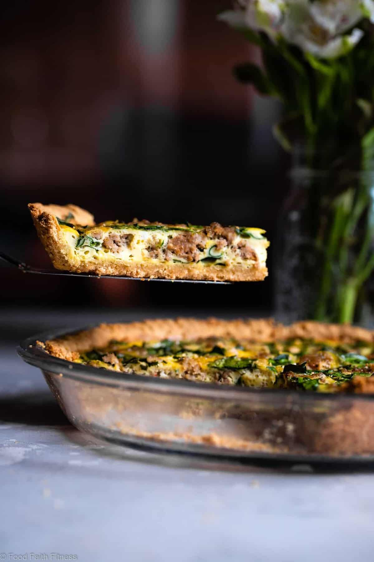 Gluten Free Low Carb Quiche -This EASY dairy free and paleolow carb spinach Quiche has a homemade, buttery, flaky Almond Flour Crust! Sausage, spinach and eggs make a high protein, filling breakfast! Great for meal prep! | #Foodfaithfitness | #Glutenfree #Lowcarb #Keto #paleo #dairyfree