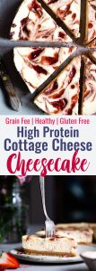 Gluten Free Strawberry Swirled Cottage Cheese Cheesecake -This Healthy Cottage Cheese Cheesecake is packed with protein and is so easy to make! Gluten free, grain free, better for you and SO creamy! | #Foodfaithfitness | #Glutenfree #Grainfree #Healthy #Cheesecake #Cottagecheese