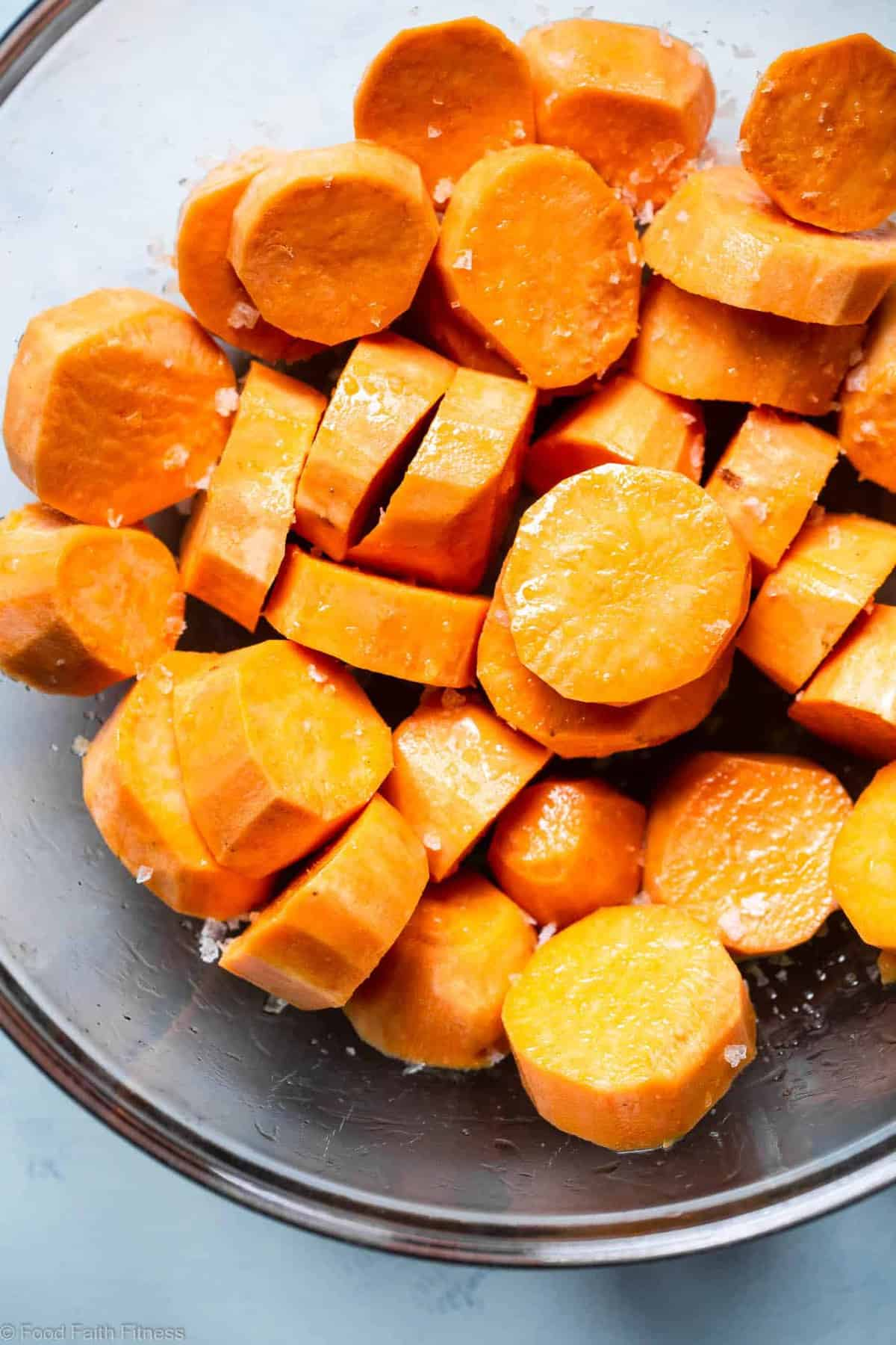 Tahini Maple Roasted Sweet Potatoes -These quick and easy, gluten freeRoasted Sweet Potatoes are SO soft, tender and flavorful! A delicious, healthy side dish that everyone will love! | #FoodFaithFitness |
