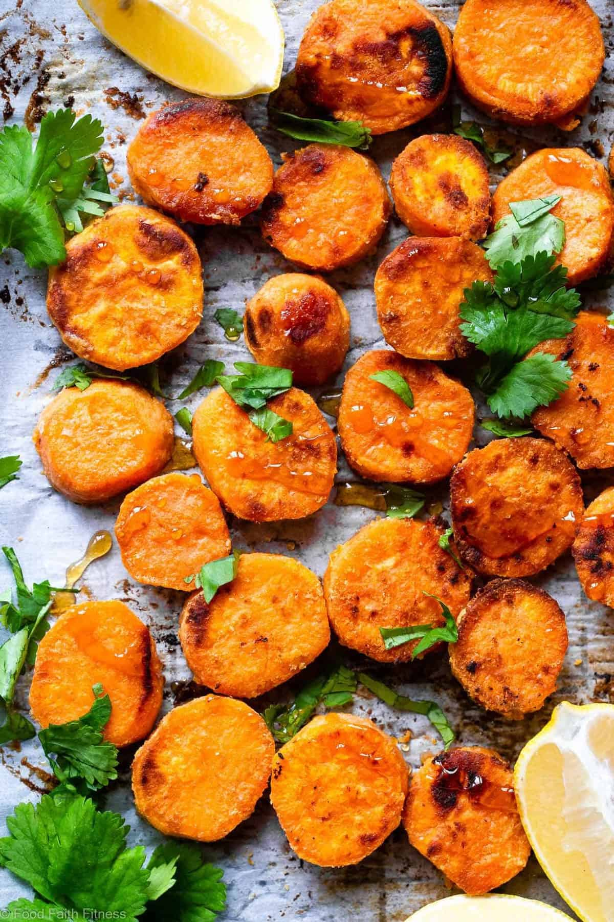 Tahini Maple Roasted Sweet Potatoes -These quick and easy, gluten freeRoasted Sweet Potatoes are SO soft, tender and flavorful! A delicious, healthy side dish that everyone will love! | #FoodFaithFitness | #Glutenfree #Paleo #Healthy #Vegetarian #Dairyfree