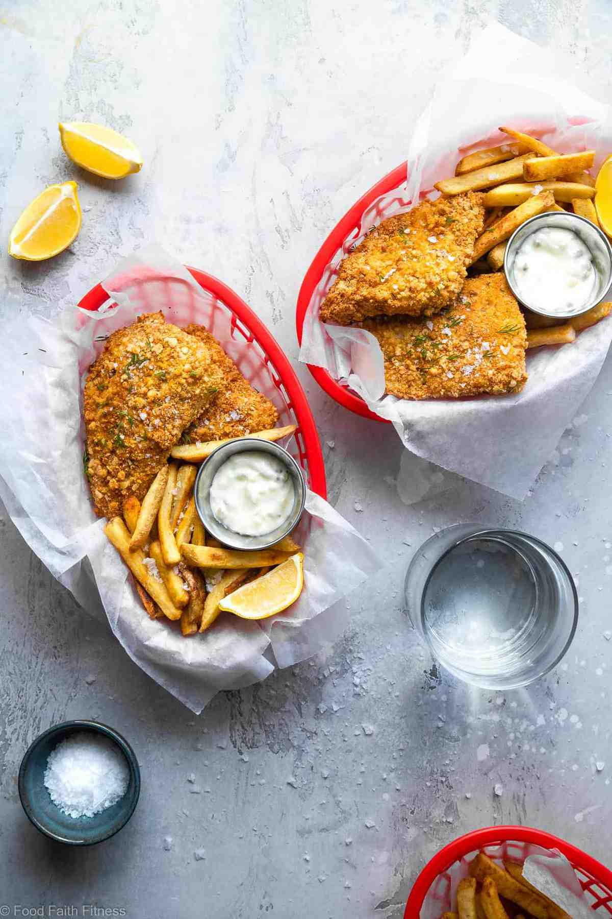 Crispy Air Fried Fish -  SO easy to make and you will never believe it's oil free! Serve it with a healthy Greek yogurt tartar sauce for a dinner that is only 200 calories, 2 Freestyle points and protein packed! | #Foodfaithfitness |