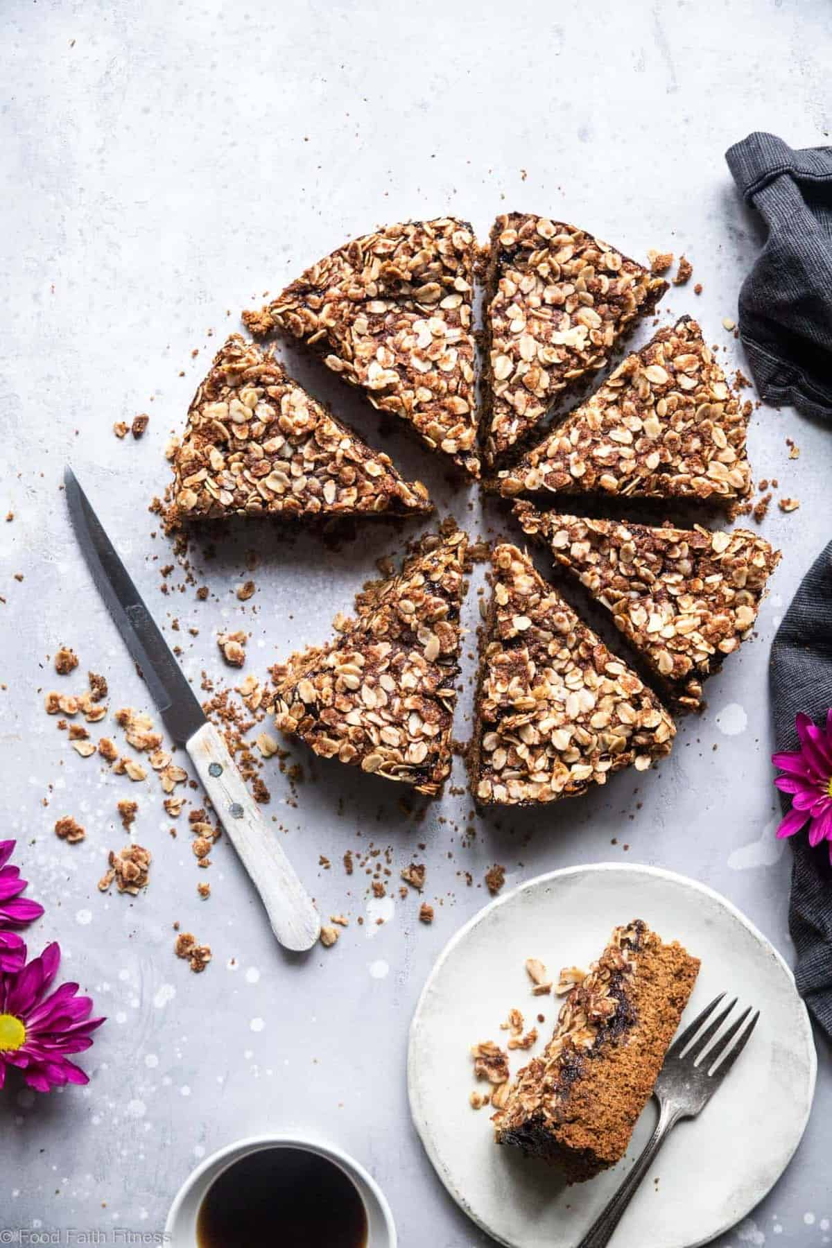 Gluten Free Vegan Coffee Cake - This tender, moist Gluten Free Coffee Cake has a tasty blackberry swirl and is loaded with a crunchy, crispy crumble topping! It's sure to be a hit and does not taste healthy! | #Foodfaithfitness | #Glutenfree #Vegan #dairyfree #eggfree #healthy