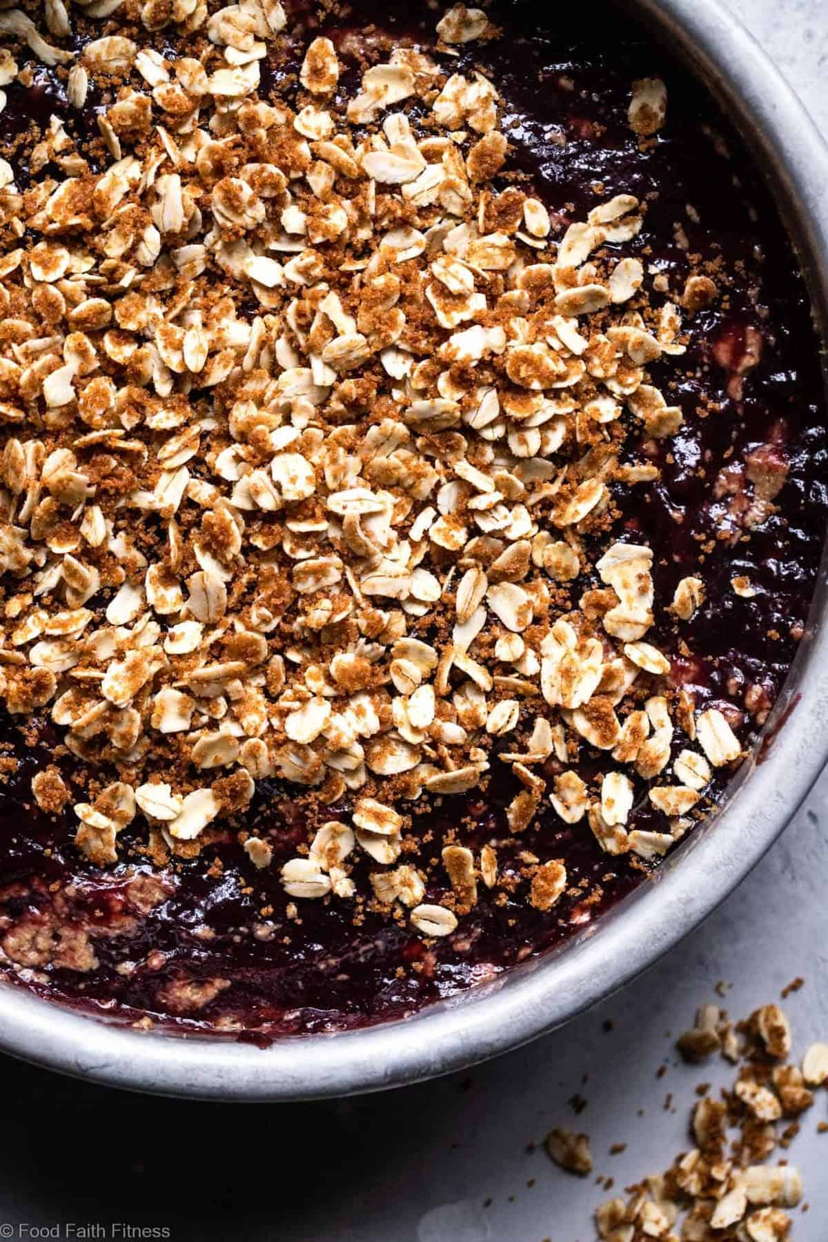 Gluten Free Eggless Coffee Cake - This tender, moist Gluten Free Coffee Cake has a tasty blackberry swirl and is loaded with a crunchy, crispy crumble topping! It's sure to be a hit and does not taste healthy! | #Foodfaithfitness |