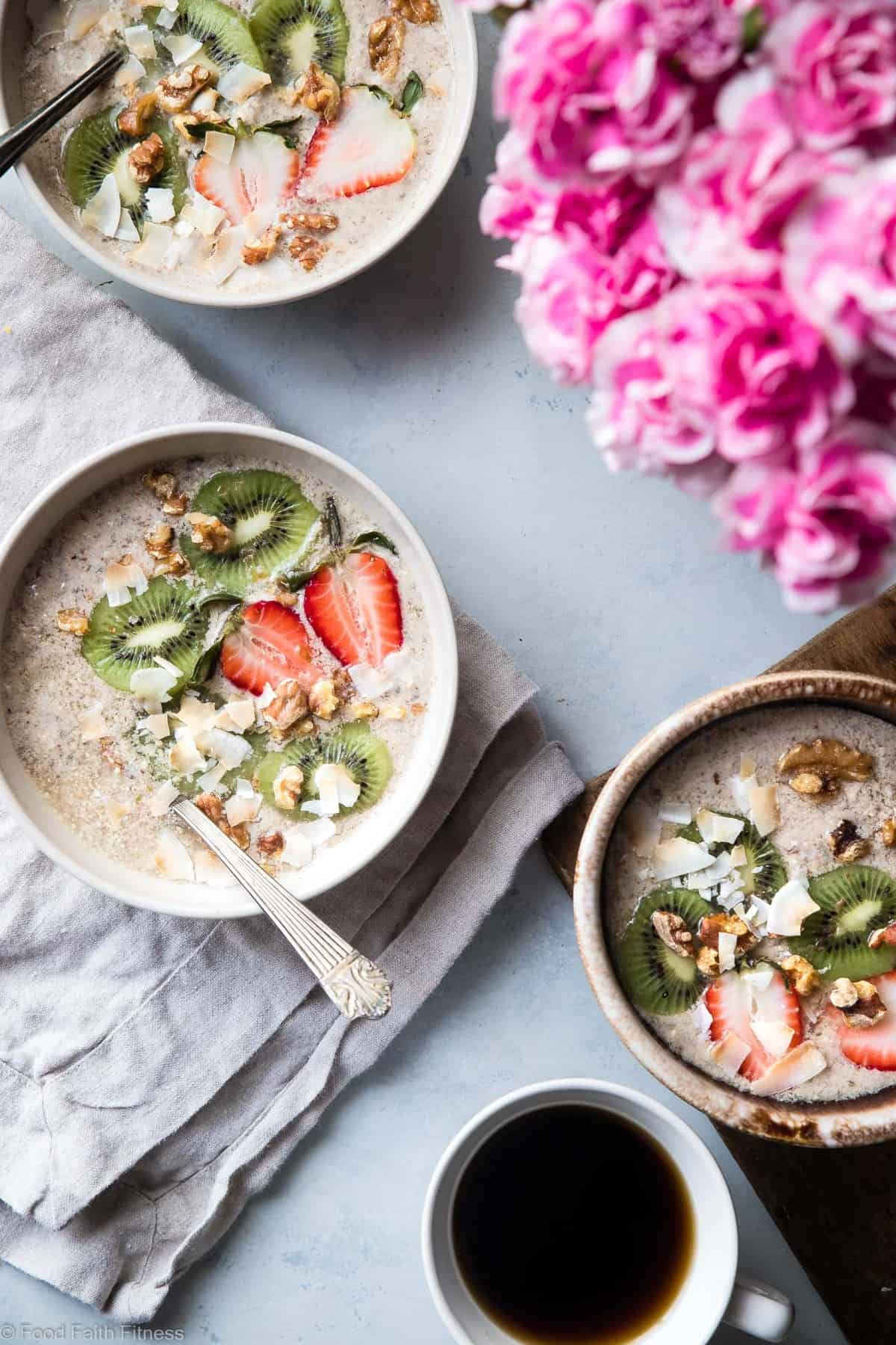 No Oats Paleo Oatmeal -This grain free oatmeal is an EASY, healthy recipe that you can make ahead for busy mornings! Loaded with healthy fat to keep you full too! | #Foodfaithfitness | #Glutenfree #dairyfree #paleo #grainfree #healthy