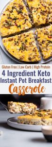 Instant Pot Breakfast Casserole with Sausage - An easy, 4 ingredient breakfast that is low carb, gluten free, keto friendly and packed with protein! You will LOVE it to have for breakfasts on the go or weekend brunch! | #Foodfaithfitness | #Keto #Lowcarb #Glutenfree #Breakfast #Healthy