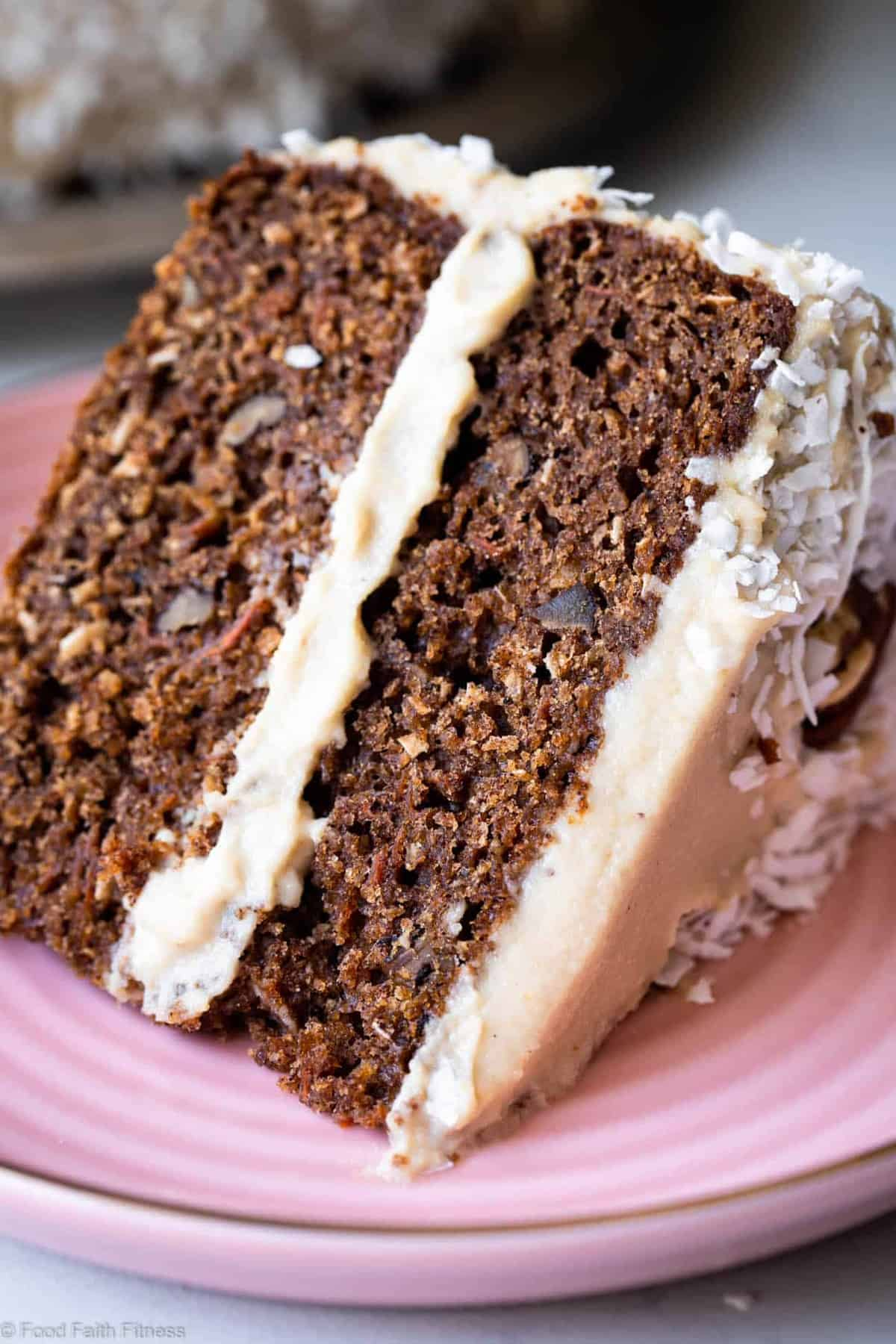 """Paleo Carrot Cake - This dairy, grain and gluten free, Paleo Carrot Cake with Almond Flour has a luscious cashew """"cream cheese"""" frosting and is easy to make! Always a hit with a crowd! 