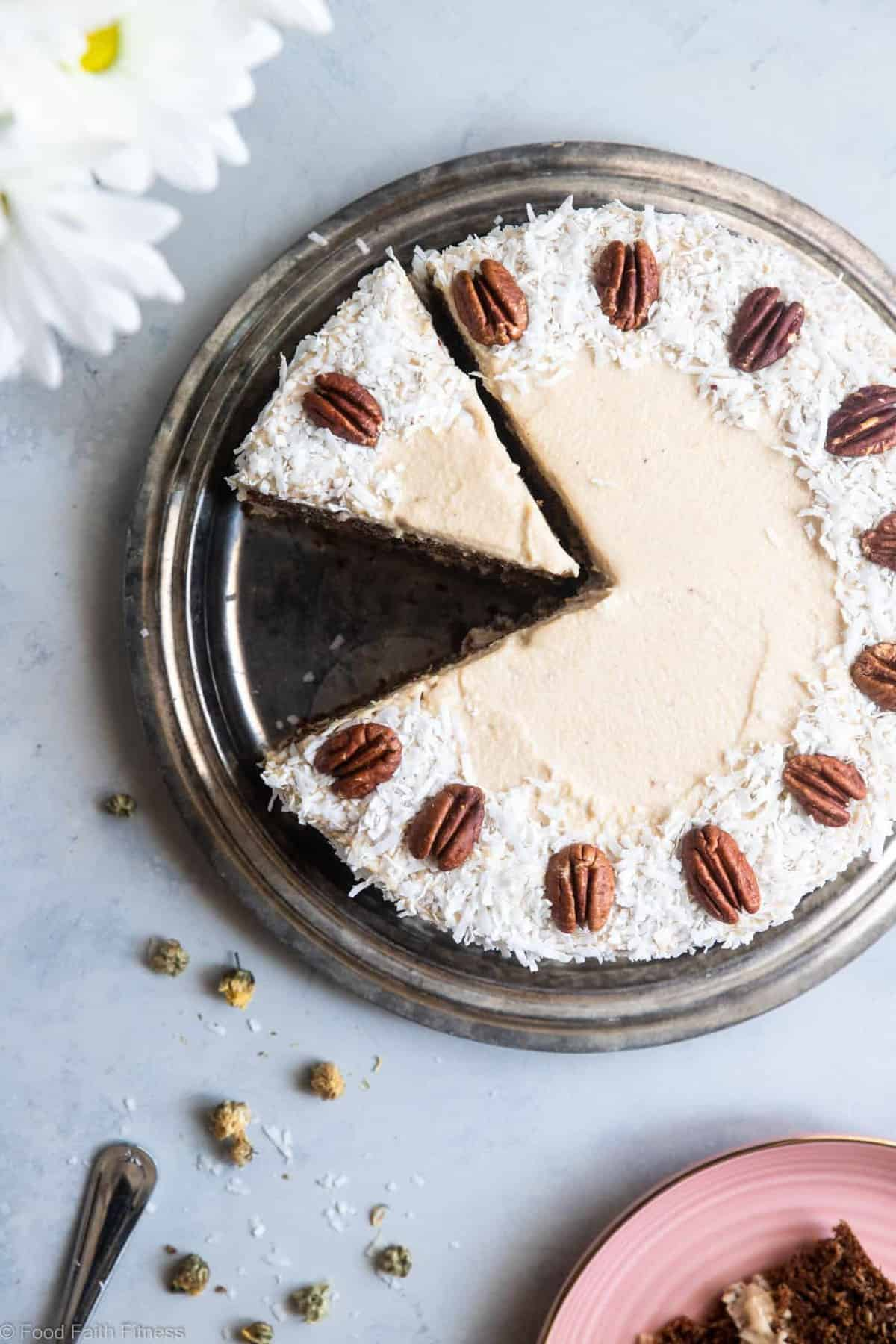 """Paleo Carrot Cake - This dairy, grain and gluten free, Paleo Carrot Cake has a luscious cashew """"cream cheese"""" frosting and is easy to make! Always a hit with a crowd! 