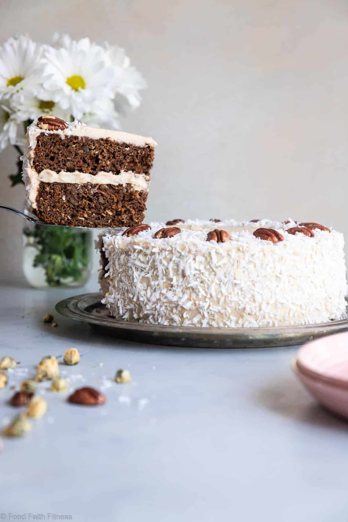 "Almond Flour Cake - This dairy, grain and gluten free, Paleo Carrot Cake has a luscious cashew ""cream cheese"" frosting and is easy to make! Always a hit with a crowd! 