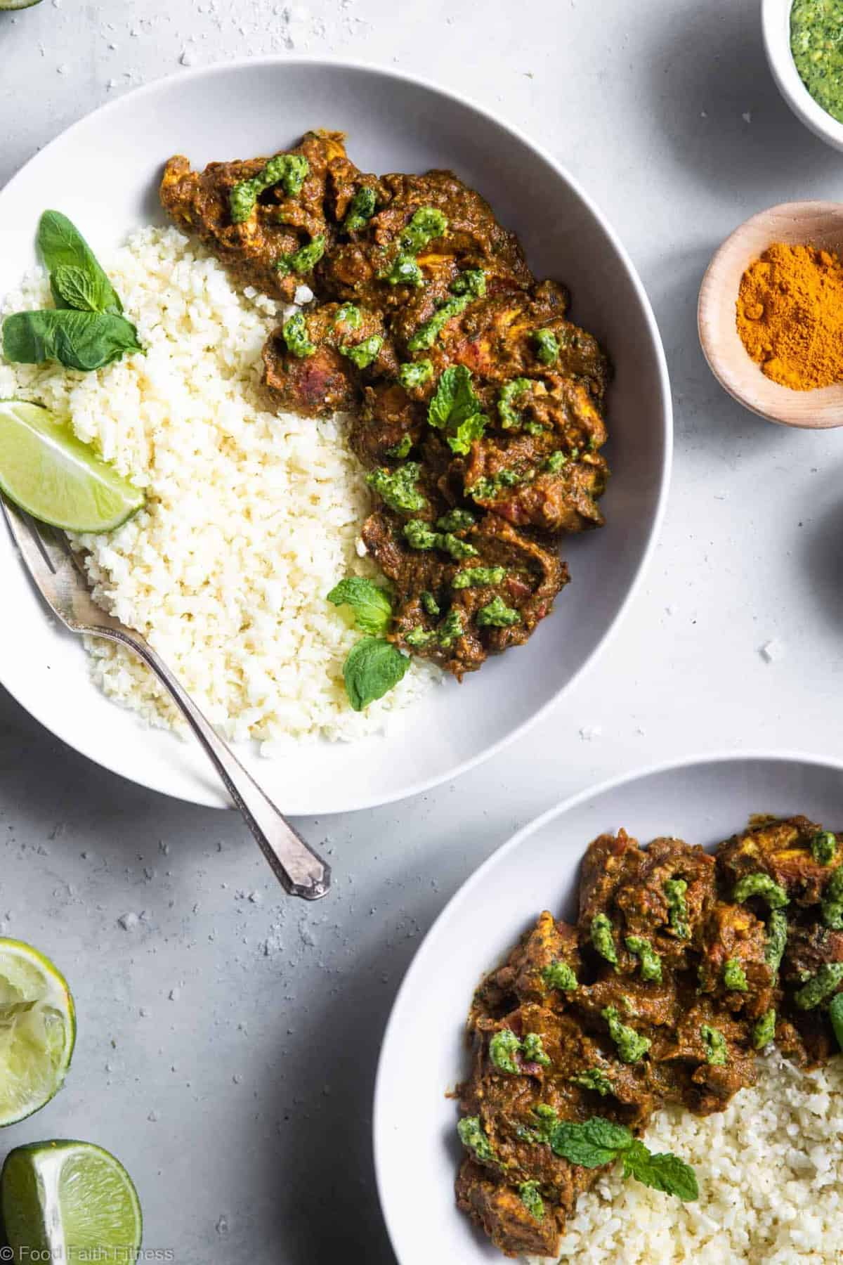 Indian Spiced Chicken with Cashew Cilantro Pesto - This chicken curry with a creamy pesto made of cashews is an easy, weeknight dinner with big bold flavor! Gluten free, paleo, whole30 and low carb too! | #Foodfaithfitness | #glutenfree #paleo #lowcarb #keto #whole30