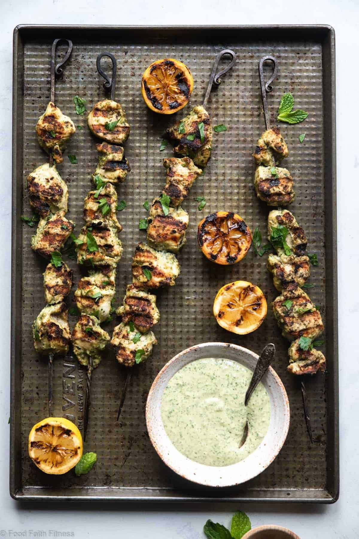 Grilled Herb Hummus Chicken Kebabs - An easy, healthy, gluten free and dairy free dinner that everyone will love! They use simple, pantry essential ingredients and basically make themselves! | #Foodfaithfitness |