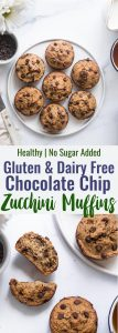 Healthy Gluten Free Zucchini Muffins - These dairy free Zucchini Muffins are fluffy and gluten, dairy, oil and sugar free! Sweetened with dates, studded with chocolate chips and only 170 calories! Great for kids and adults! | #Foodfaithfitness | #Glutenfree #Dairyfree #Healthy #Zucchini #sugarfree