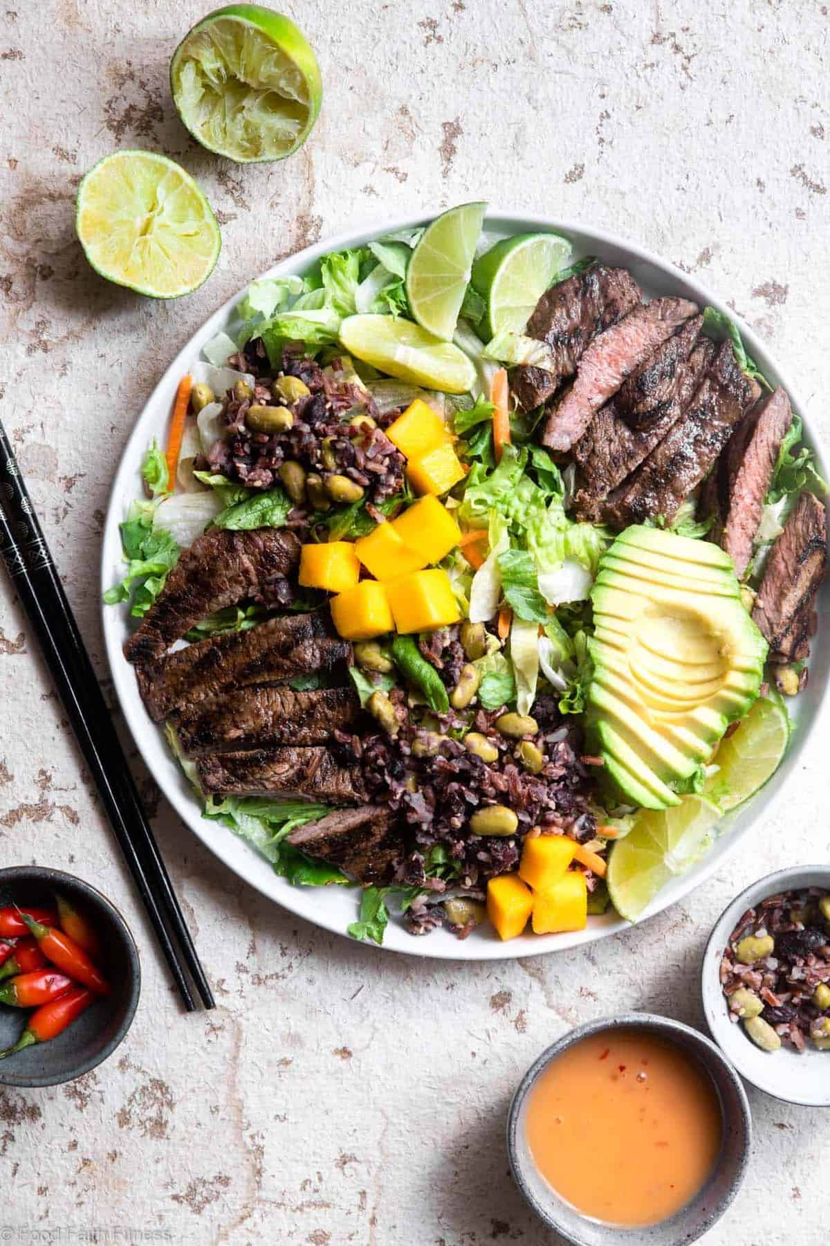 Grilled Thai Beef Salad on a plate from overhead