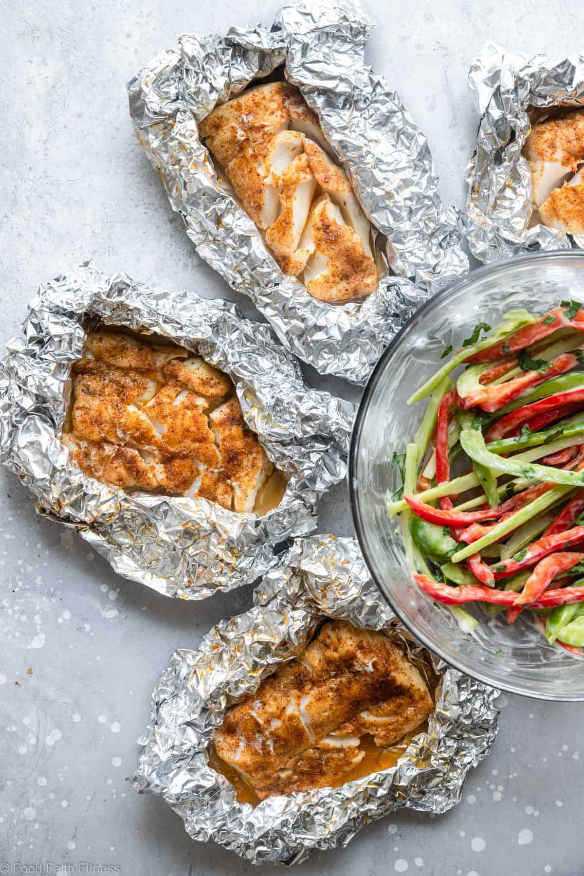 Cod fish on the grill in tinfoil