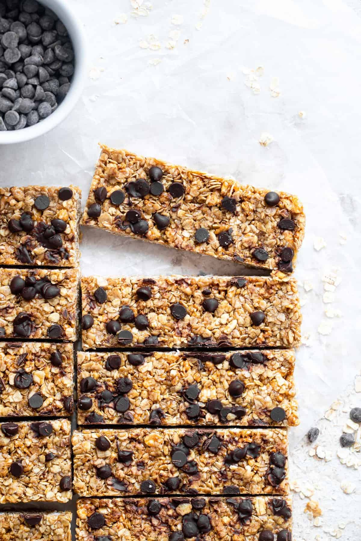 healthy chewy granola bar recipe in a row with one bar removed