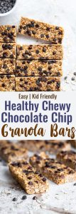Collage of 2 images of healthy chewy granola bars recipe