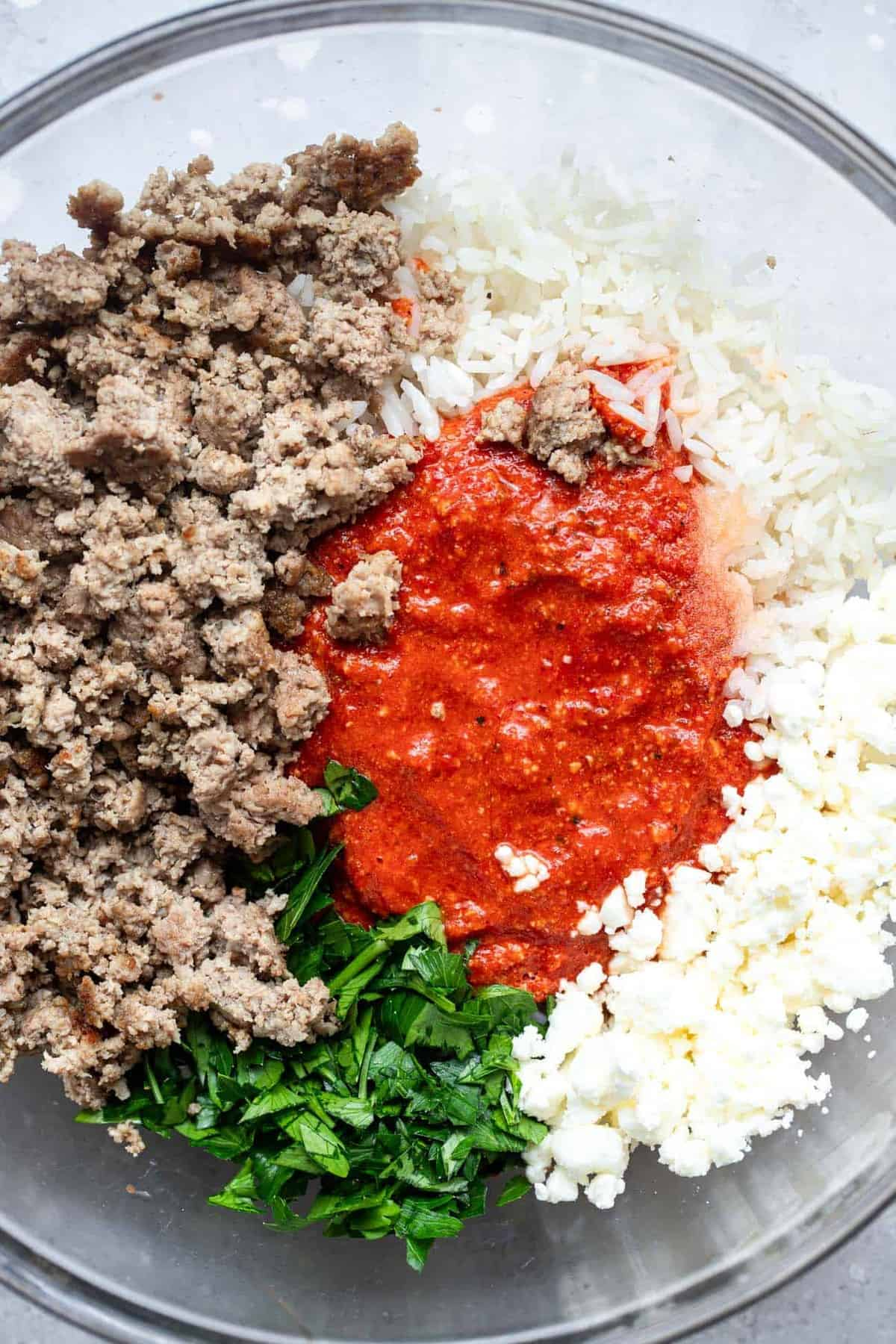 Ingredients to make bbq stuffed peppers in a bowl