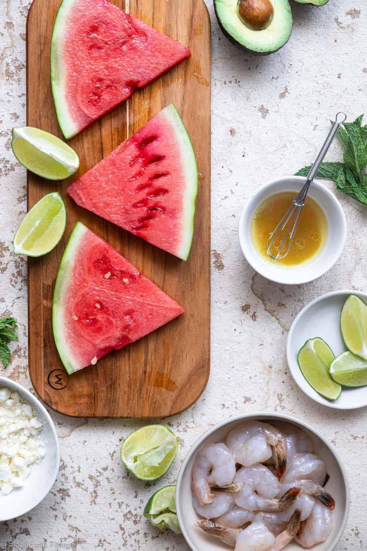 sliced watermelon arranged on a cutting board