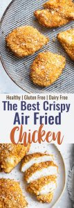 Collage image of 2 photos of air fryer chicken breast