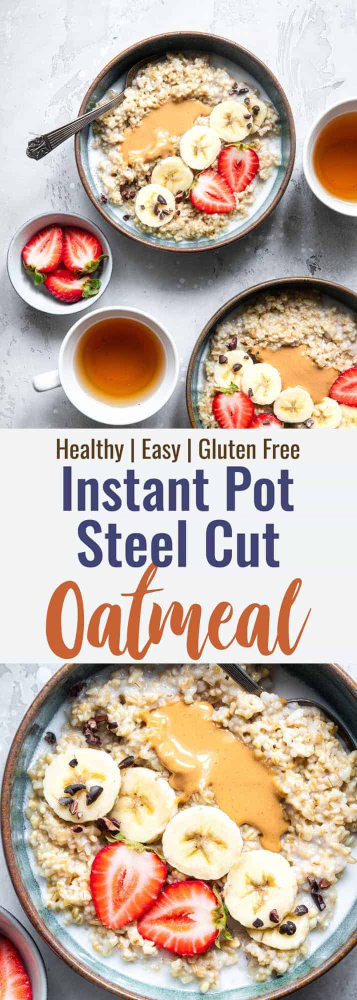 Collage image of 2 images showing instant pot oats