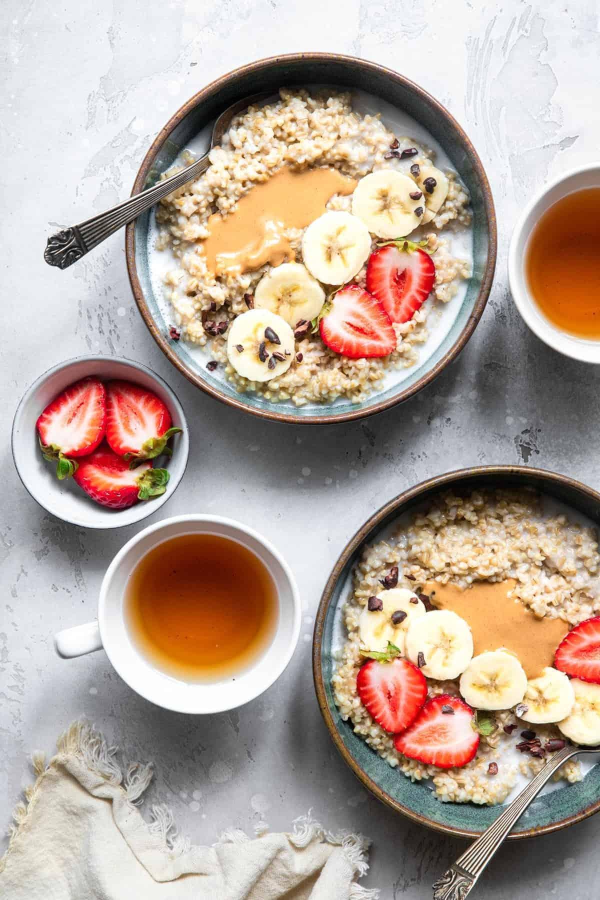 overhead photo of 2 bowls of instant pot steel cut oats