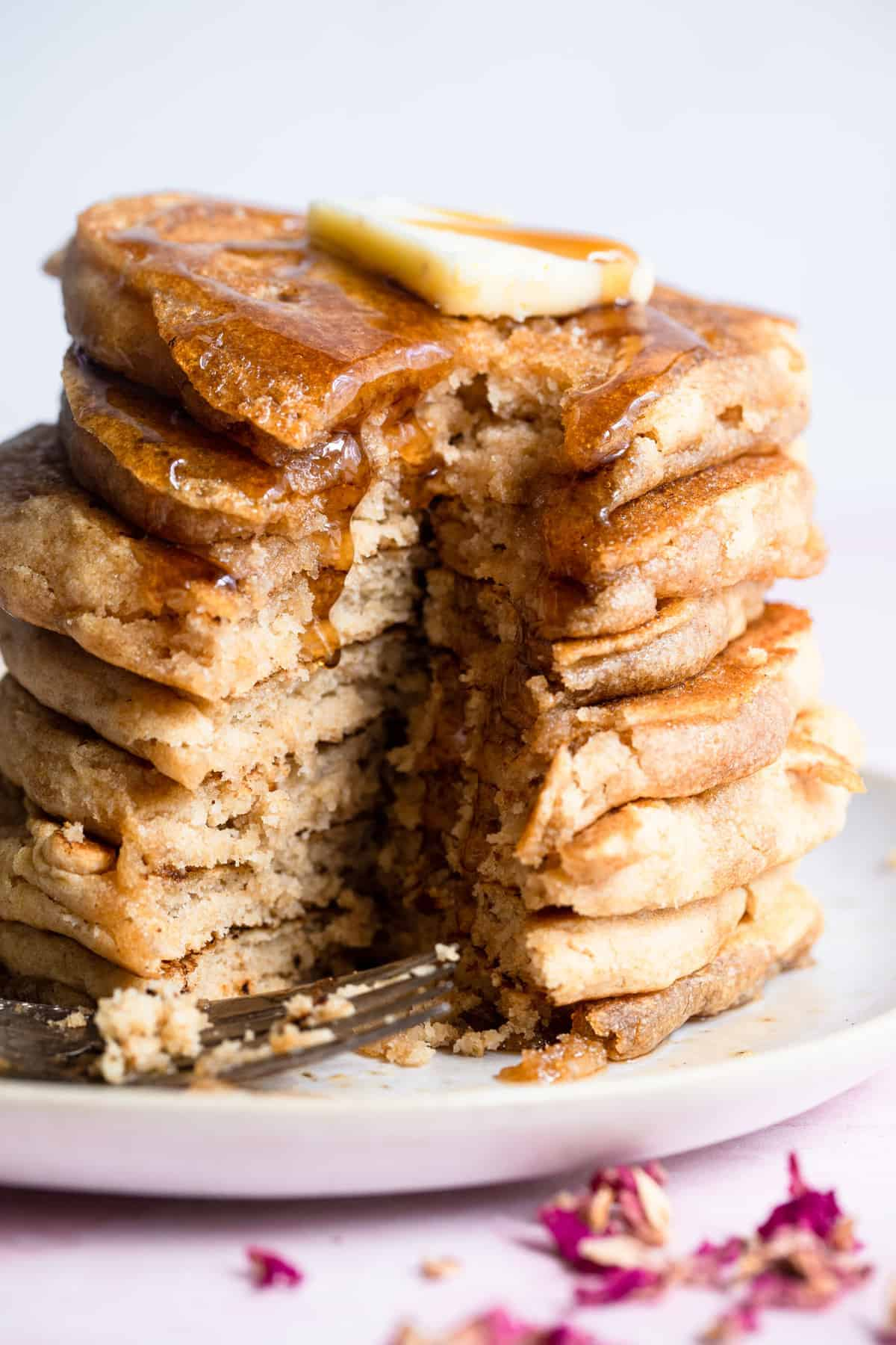 close up of easy vegan pancakes that are cut