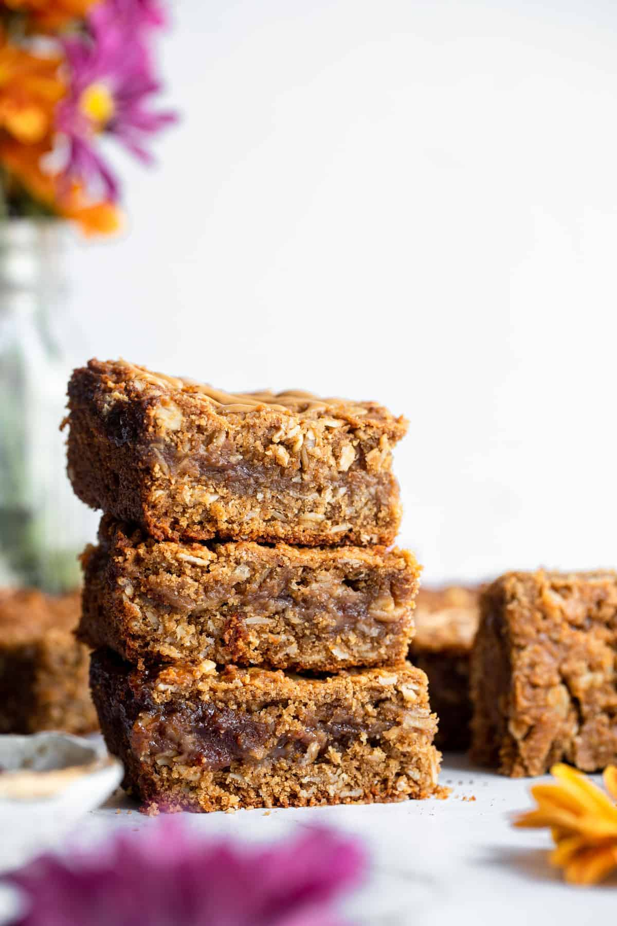 a stack of 3 oatmeal breakfast bars