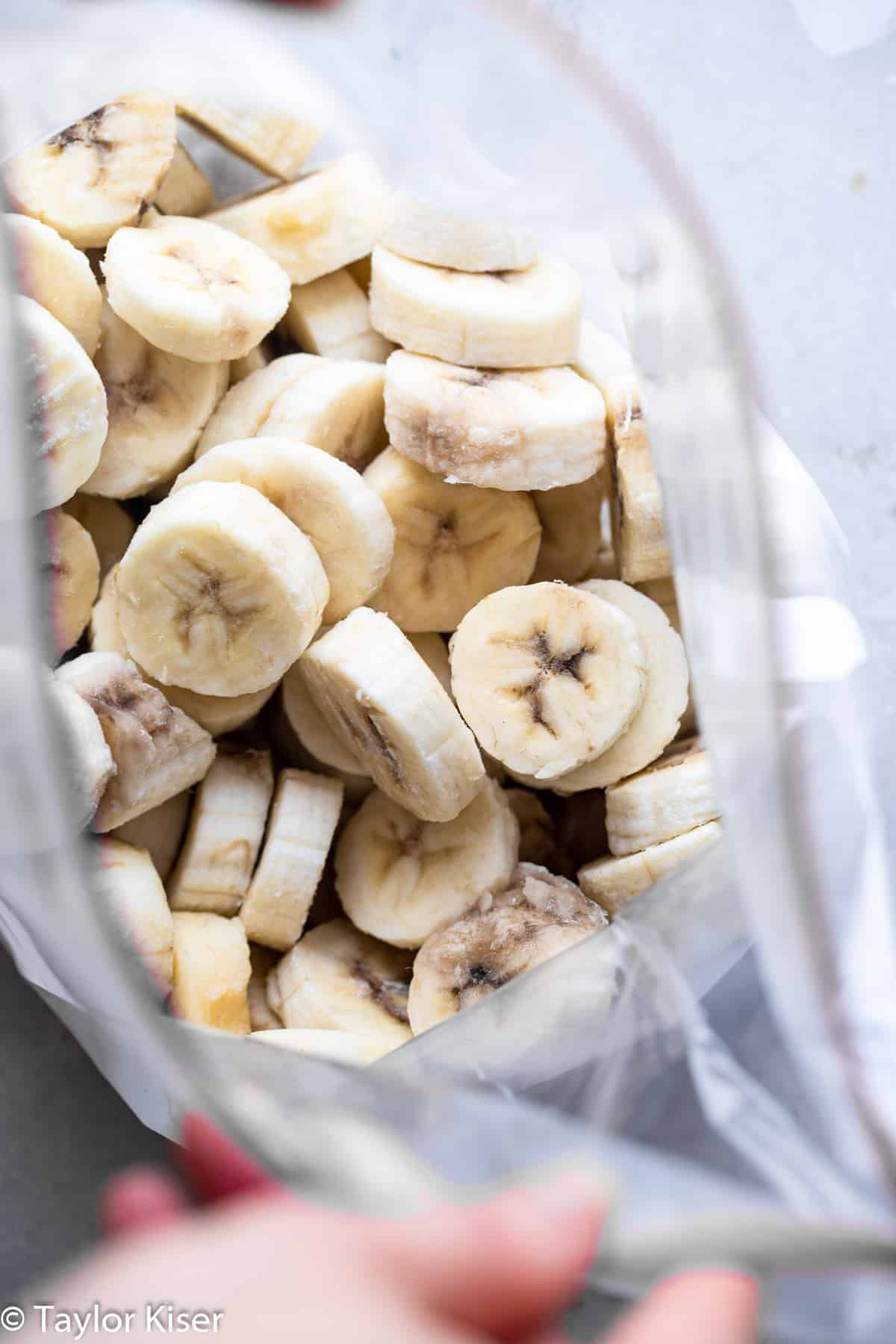 sliced bananas in a bag