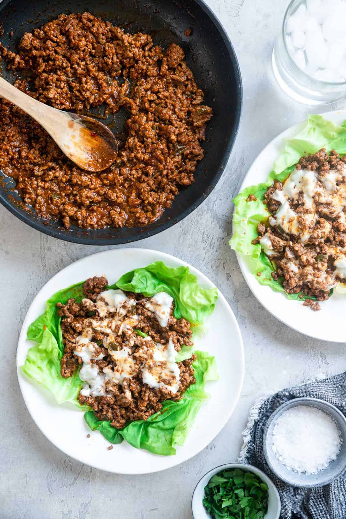 Overhead photo of Low Carb Keto sloppy joes on a table