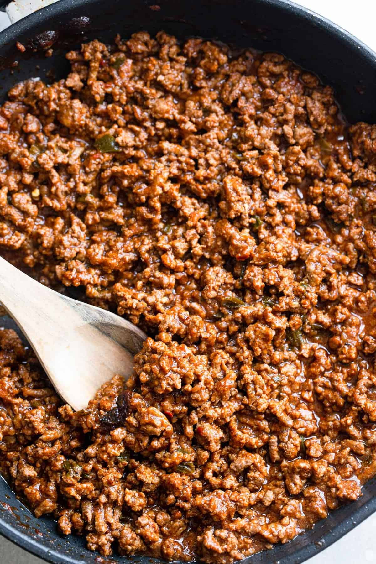 Close up of Keto sloppy joes in a pan