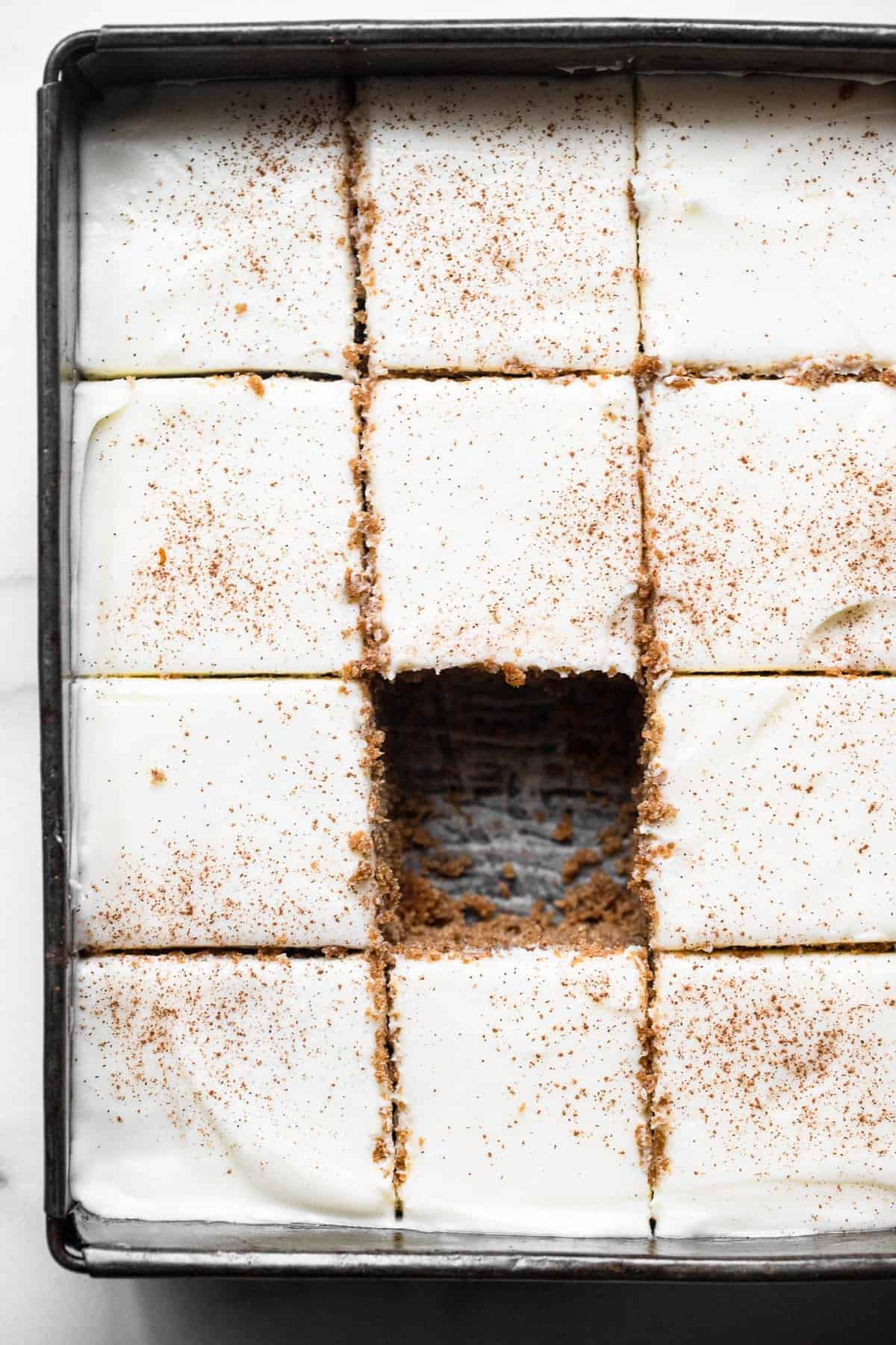 gluten free gingerbread cake in a square pan