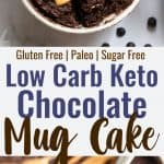 Two images of low carb keto chocolate mug cake