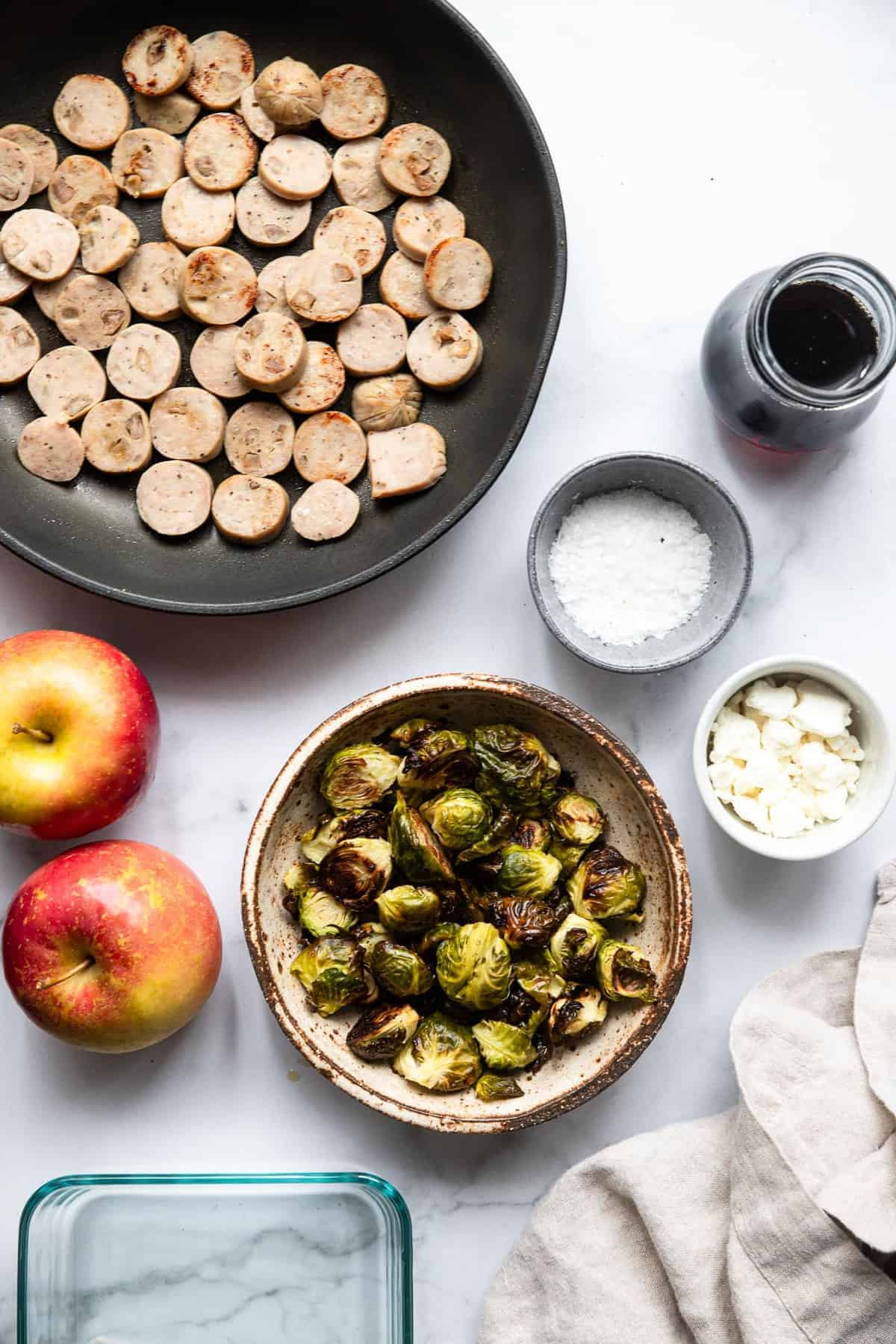 Ingredients to make meal prep bowls