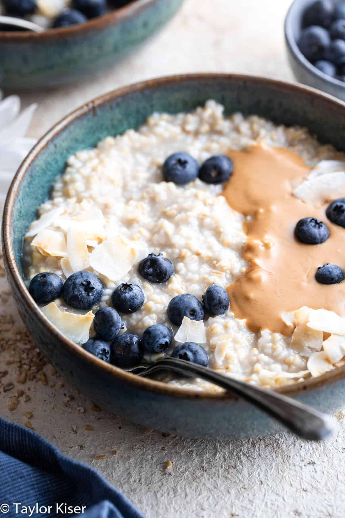 overnight oatmeal with steel cut oats in a bowl with blueberries