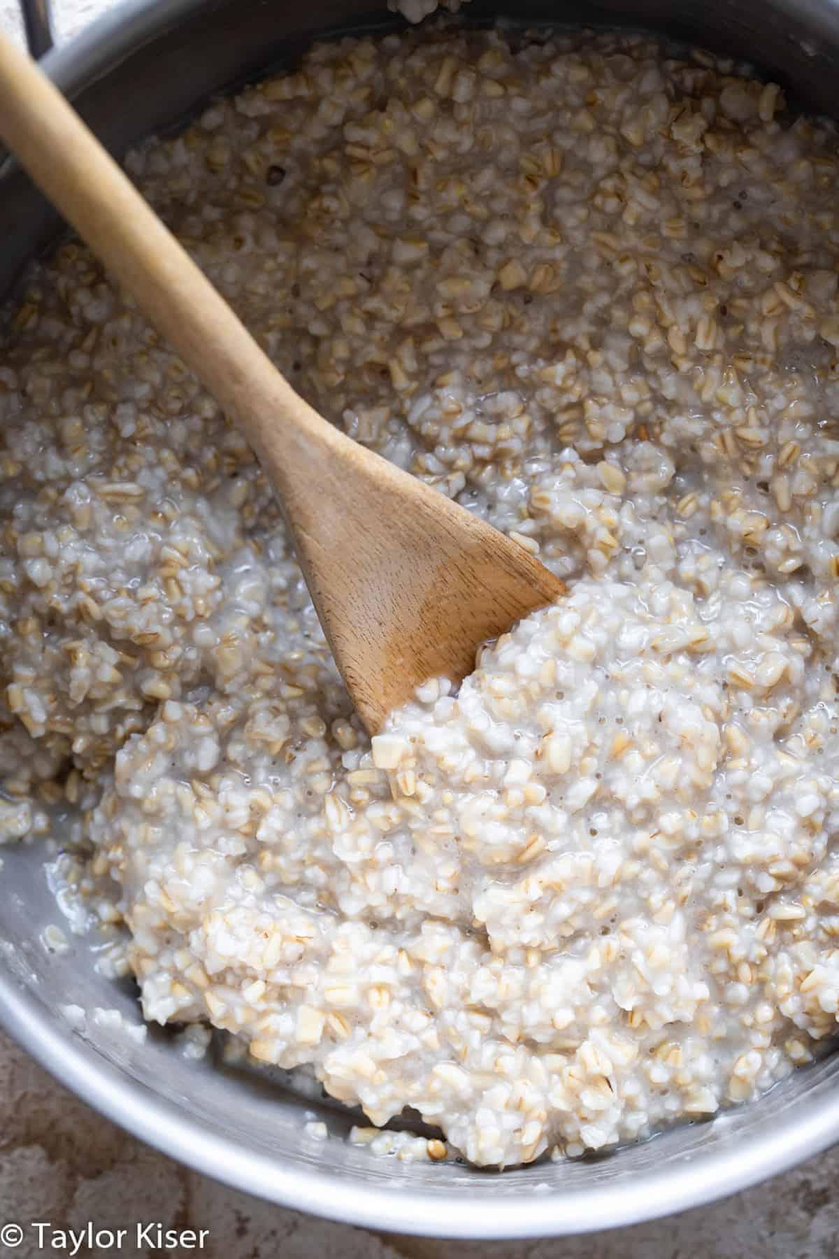 overnight oats with steel cut oats in a pot