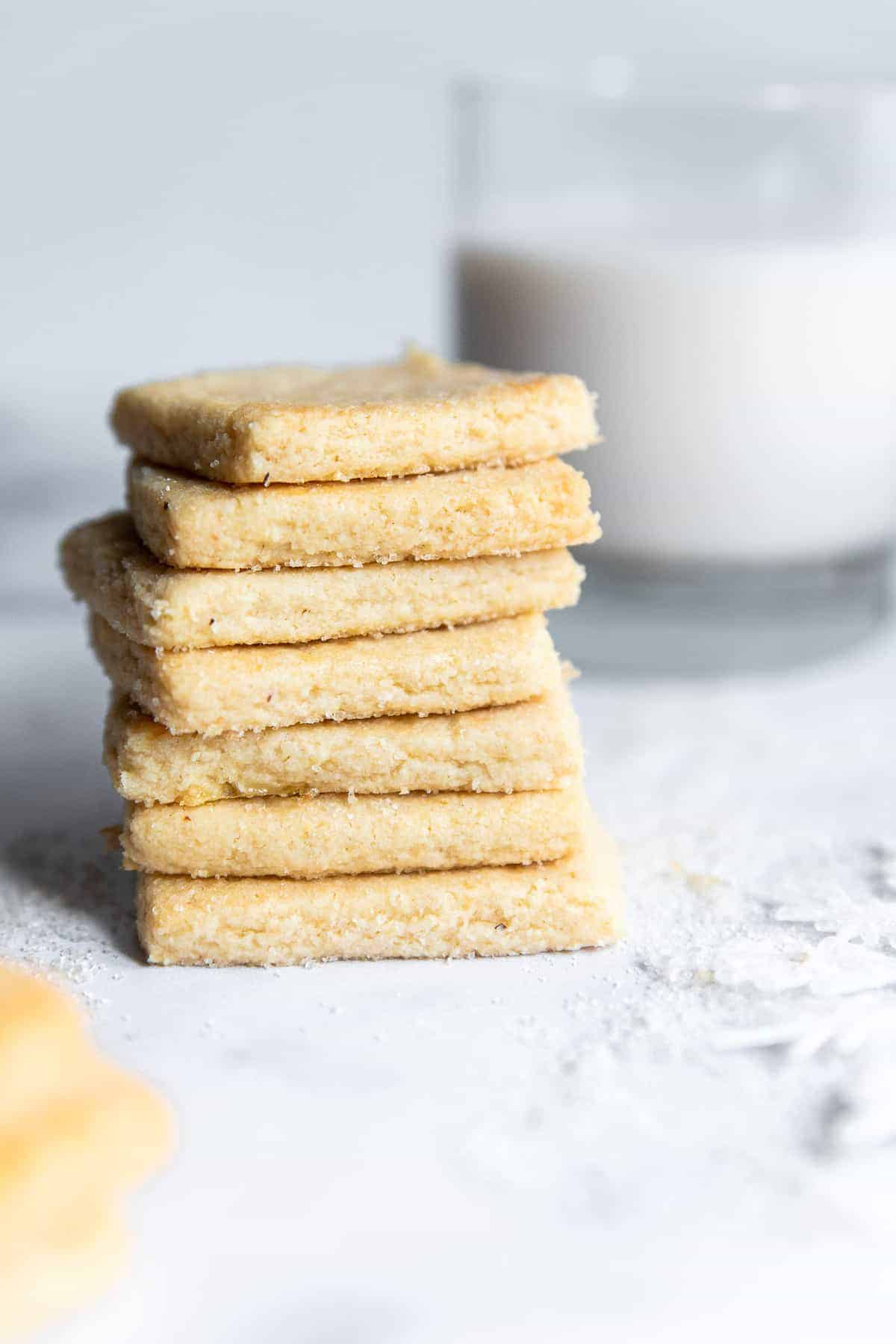 a stack of almond shortbread cookies